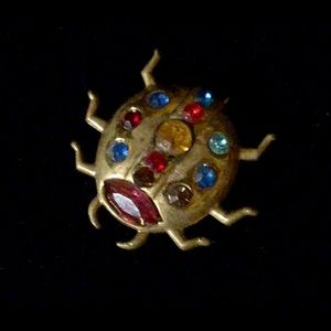 Jewelry - 1950s brass & colored crystals ladybug brooch.